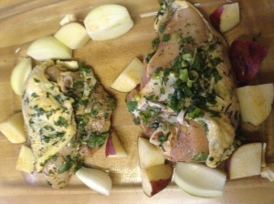 Chicken breasts, seasoned with fresh herbs and pepper