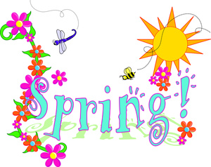 Clip Art Illustration of Spring Text with Flowers