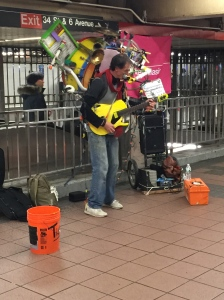 This noisemaker performing in the subway