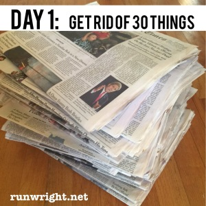 On Day 1 of the Decluttering challenge, get rid of 30 things