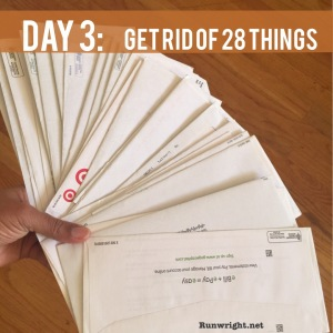 On Day 3 of the Decluttering challenge, get rid of 28 things