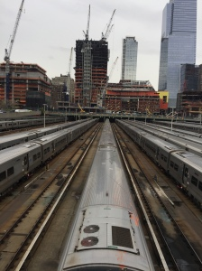 The view of the Metro North train yard from NYC the Highline