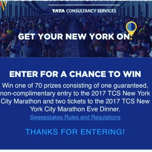 Enter for a chance to run the 2017 TCS NYC Marathon