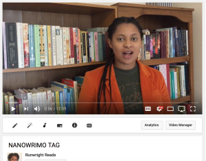 NaNoWriMo Tag on YouTube Runwright Reads