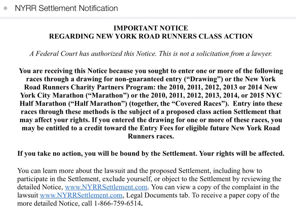 NYRR Settlement NYC Marathon