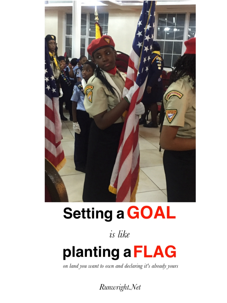 Setting a goal is like planting a flag on land you want to own and declaring it's already yours
